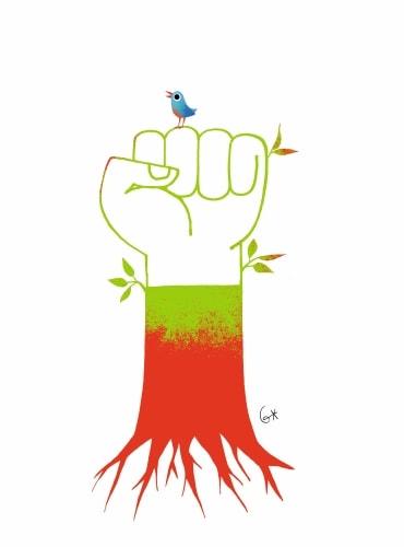 Un poing levé représente le combat des étudiants pour un réveil écologique