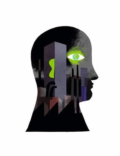 Illustration écologie visage de profil sur fond noir avec un œil vert lumineux
