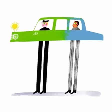 Illustration deux personnages dans une voiture qui devient verte